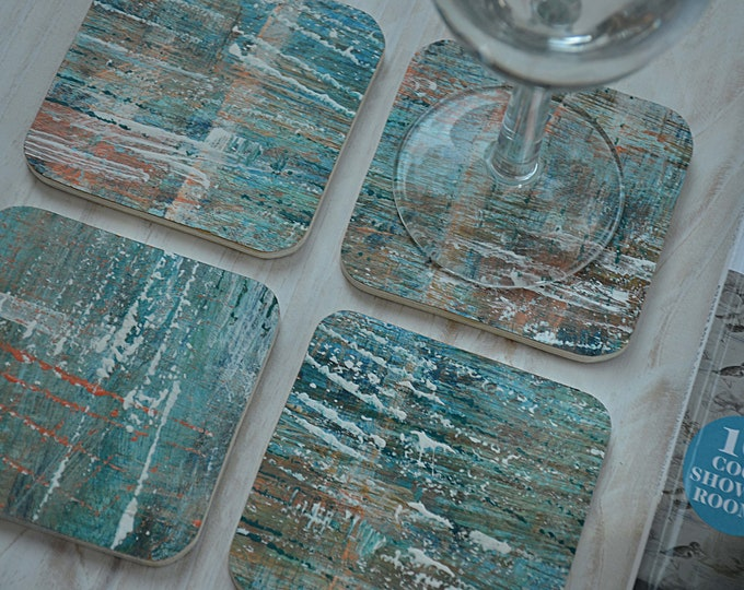 Set of 4 Contemporary Nautical Coffee Table Coasters Individually Hand Painted in Our Ocean Seascape Coastal Designs
