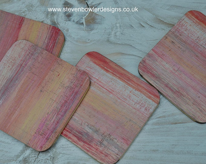 Nautical Coffee Table Coasters Made from Reclaimed Wood and Hand Painted with Our Original Ocean Sunset Stripes