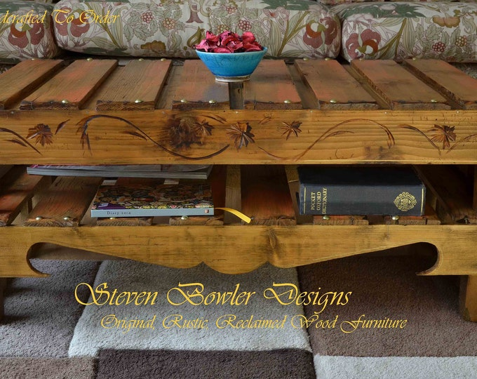 """CUSTOM ORDER for Mark RLTP for Country Cottage Coffee Table with Burnt Orange Highlights Decorative Carving Gold Tacks 29.5""""x 17.5"""" x 18"""""""