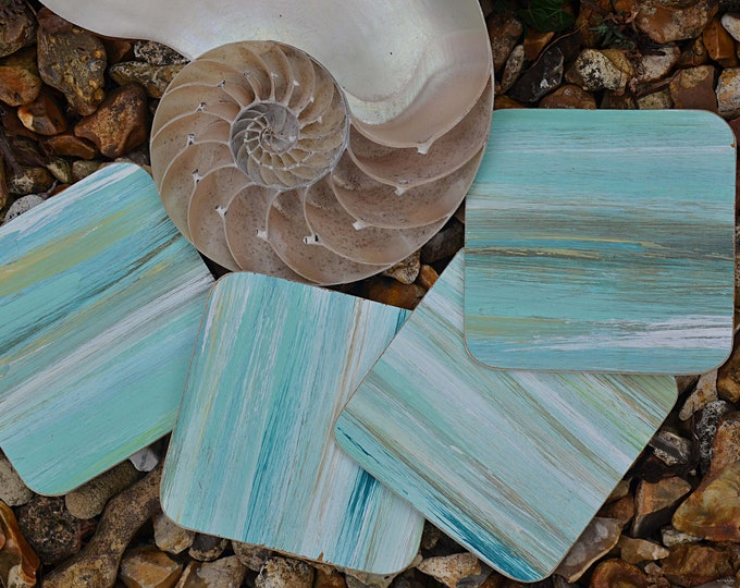 Set of 4 Nautical Beach Style Coffee Table Natural Wood Coasters Hand Painted in Our Blue Multicoloured Stripey Coastal Design