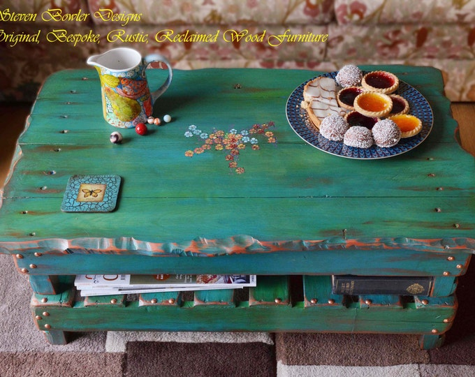 Bespoke Country Cottage Reclaimed Wood Rustic Coffee Table In Variagated Greens & Blues Copper Edging with Hand Painted Flower Design