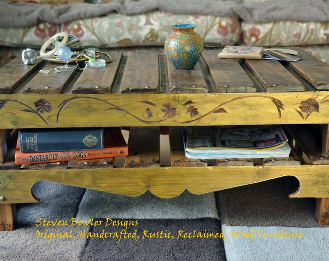 Bespoke Country Cottage Rustic Reclaimed Wood Coffee Table Medium Oak Stain Autumn Gold Highlighting , Carving & Under Shelf Storage