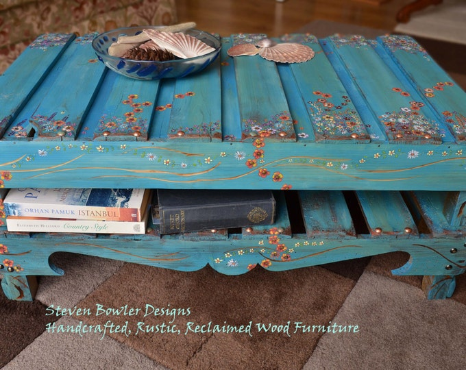 Coastal Mediterranean Blue Hand Painted Rustic Coffee Table with Cottage Flower Design & Handy Undershelf Storage Handcrafted to Order