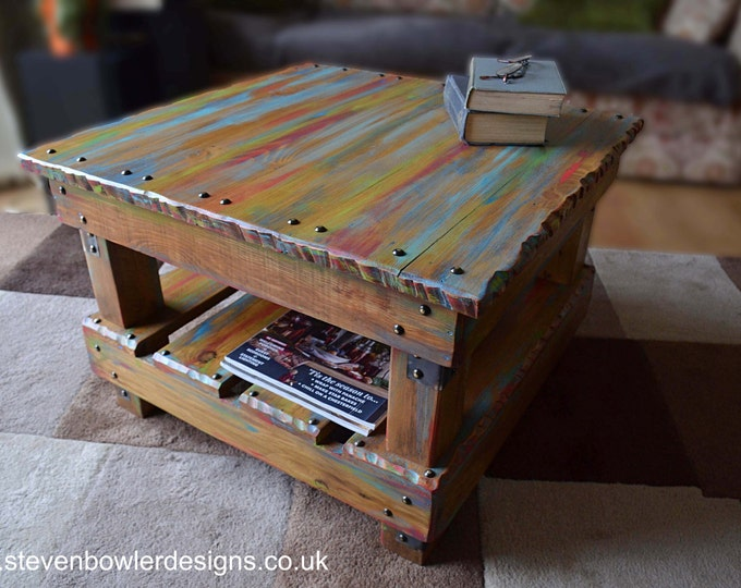 Original and Unique Bespoke Square Rustic Reclaimed Wood Coffee Side Table in Multi Coloured Old Boatwood Style Finish & Undershelf Storage