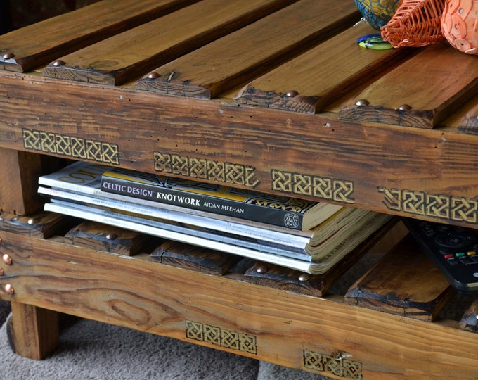 Bespoke Celtic Reclaimed Wood Coffee Table Medium Oak Stain with King Solomon's Knot Celtic Design & Under Shelf Storage Made to Order