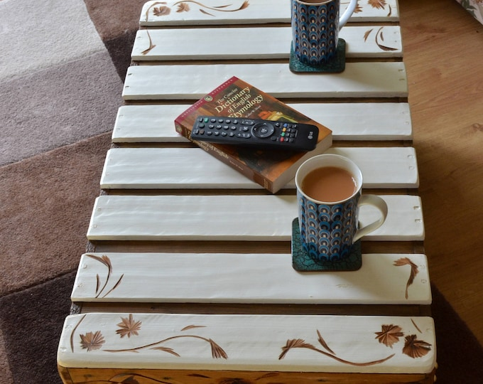 FREE UK SHIPPING Bespoke Country Cottage Rustic Reclaimed Wood Coffee Table with Decorative Carving & Bronze Tacks Handy Under Shelf Storage