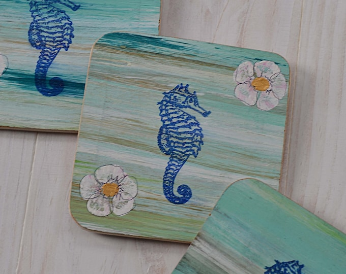 Set of 4 Bespoke Nautical Coffee Table Wood Coasters Handpainted in Our Stripey Coastal Design with Underwater Flowers & Seahorses