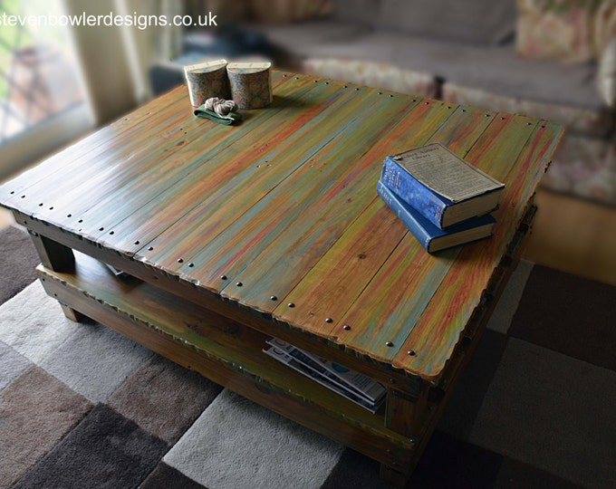 Bespoke Multi Coloured Old Boat Wood Style Reclaimed Wood Coastal Coffee Table with Weathered Look Finish & Undershelf Storage Made to Order