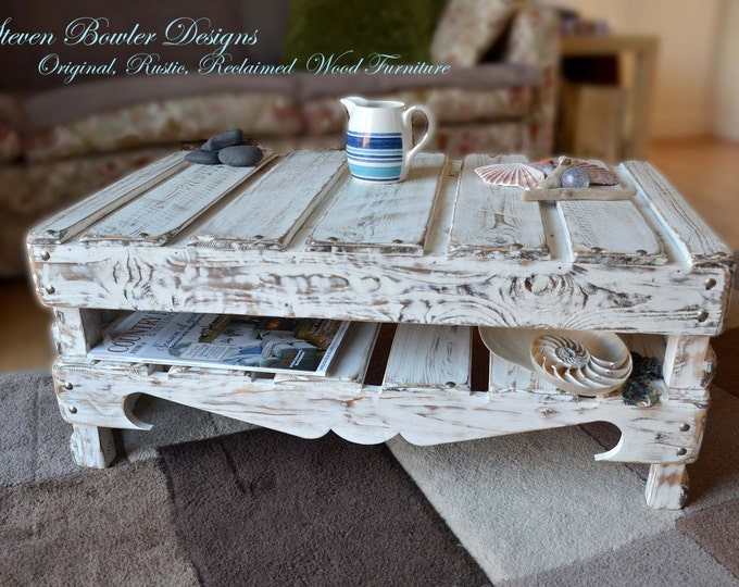 FREE UK SHIPPING Bespoke White Coastal Cottage Reclaimed Wood Coffee Table Driftwood Style Finish Undershelf Storage & Matt Silver Tacks