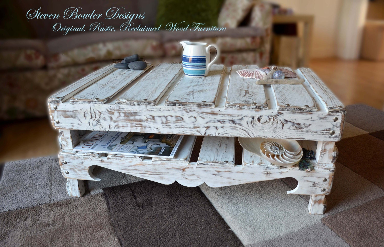 Bespoke White Coastal Cottage Reclaimed Wood Coffee Table