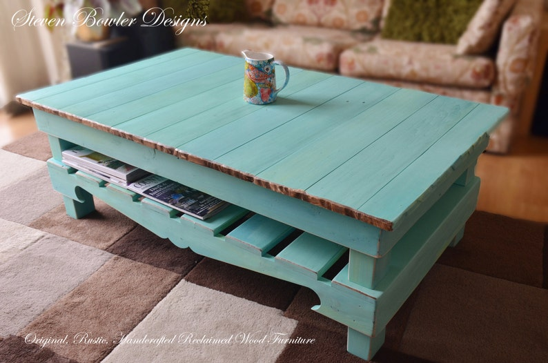 Free Uk Shipping Large Rustic Reclaimed Wood Coffee Table In Aquamarine Blue With Natural Wood Edging Handcrafted To Order