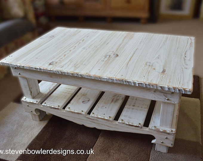 FREE UK SHIPPING Bespoke Coastal Reclaimed Wood Coffee Table Coastal White Wash Finish Matt Silver Tacks Under Shelf Storage Made to Order