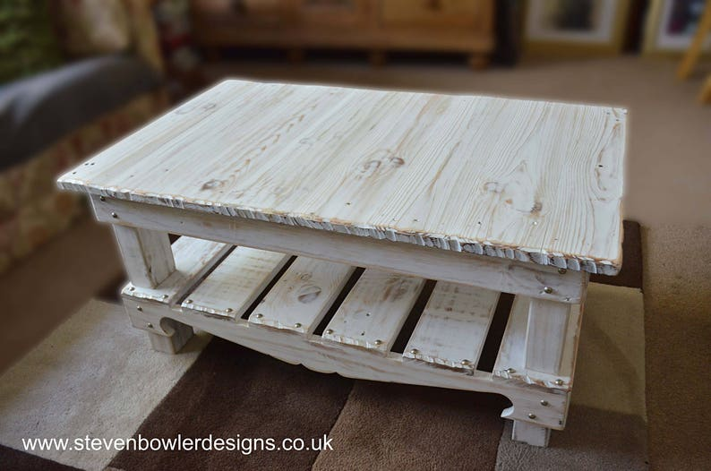 Bespoke White Coastal Coffee Table In Driftwood Effect Finish Etsy