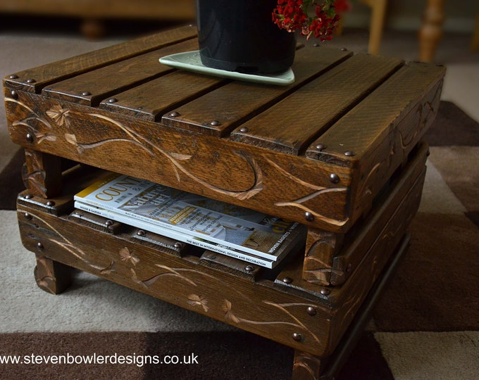 Bespoke Country Cottage Rustic Reclaimed Wood Side Table Dark Oak Stain Undershelf Storage Decorative Carving & Bronze Tacks Made to Order
