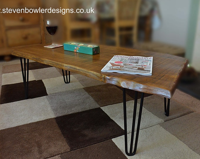 FREE UK SHIPPING Rustic Country Cottage Slab Top Style Coffee Table Medium Oak Stain with Elegant 3 Rod Black Metal Hairpin Legs In Stock