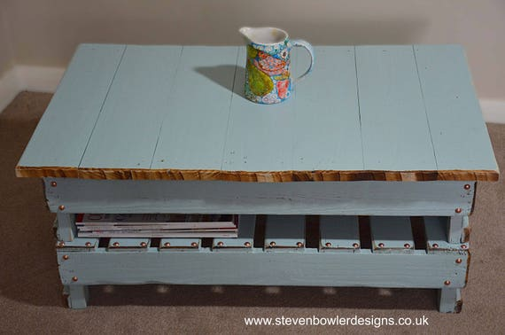 Bespoke Country Cottage Reclaimed Wood Coffee Table Duck Egg Blue With Natural Wood Edging Decorative Copper Tacks Handy Storage Shelf