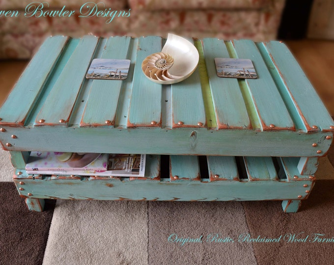 FREE UK SHIPPING Bespoke Country Cottage Rustic Reclaimed Wood Coffee Table in Duck Egg Blue Decorative Copper Edging & Undershelf Storage