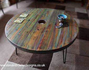 Multi Coloured Old Boat Wood Style Spool Coastal Coffee Table 81 cm x 81 cm Diameter with 3 Sleek Black Hairpin Metal Legs Made to Order