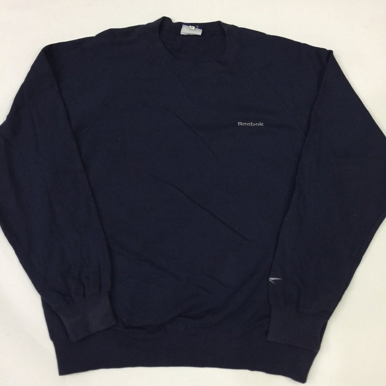 1656890ff80d1 Vintage 90's Reebok Jacket Varsity Crew Neck navy blue Sweatshirt Sport  Trainer Sweater Hip Hop Size L #SW218