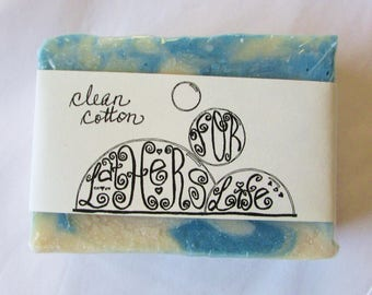 Handmade Artisan Soap -- Clean Cotton Scent in a Beautiful Blue and White Swirl Soap Bar of Good Oils and Butters -- Vegan