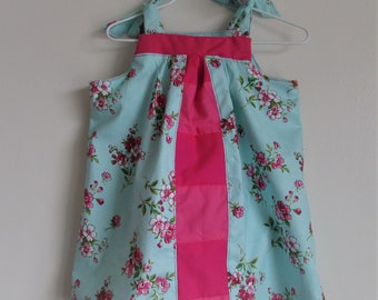 Mint Aqua Sundress with Bright Pinks Piecework Accent and Spring Flowers, Little Girl Toddler Sundress, 6 to 12 months (see measurements)