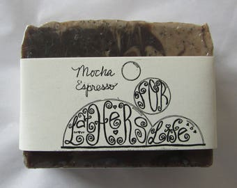 Exfoliating Mocha Espresso Chocolate and Coffee Handmade Bar Soap with Real Coffee and Cocoa / Vegan Butters and Oils / Smells Great