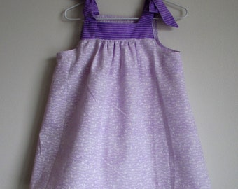 Two Purple Prints Baby Sundress, Simply Cute Beautiful Prints Put Together, Little Girl Toddler Sundress, 12 to 18 months (see measurements)