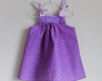 Three Purple Prints Baby Sundress, Beautiful Prints Put Together, Little Girl Toddler Sundress, 12 to 18 months (see measurements)