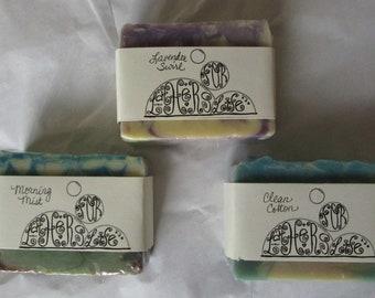 Set of 3 Handmade Soaps / Morning Mist (Vanilla, Lavender, Sandalwood) / Lavender  / Clean Cotton / Tallow Free Soap / FREE SHIPPING