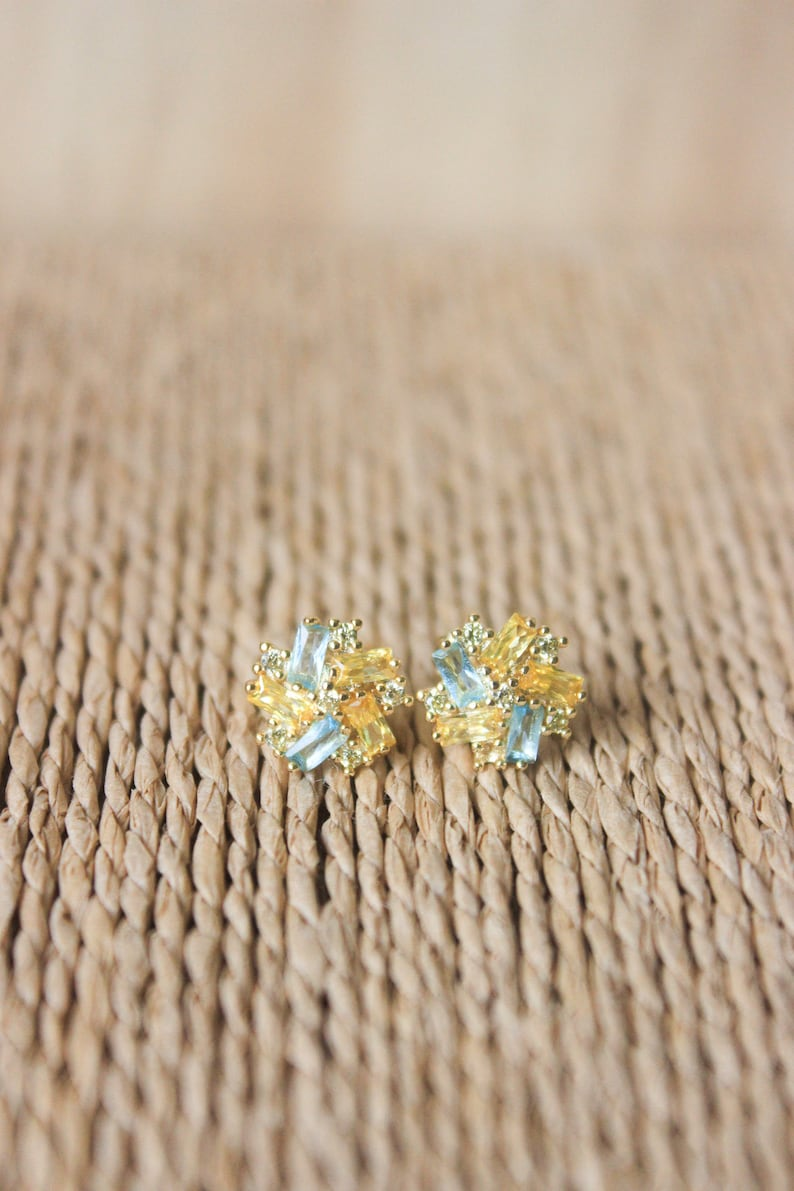 Gold nature stud earrings wedding bridesmaid flower necklace citrine and blue topaz set nature flower jewelry set