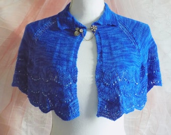 Cobalt blue capelet - beaded cape - knit capelet - one of a kind wedding capelet - beaded bolero - beaded capelet - hand knitted capelet