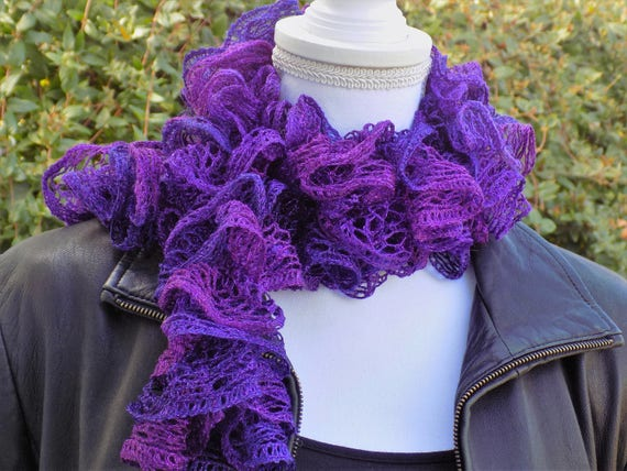 Knitted Ruffle Scarf Crochet Ruffle Scarf Hand Knit Scarf Etsy