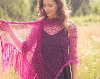 Bohemian fringe shawl, extra long scarf, long scarf, net scarf, alpaca silk scarf, knit bridal shawl