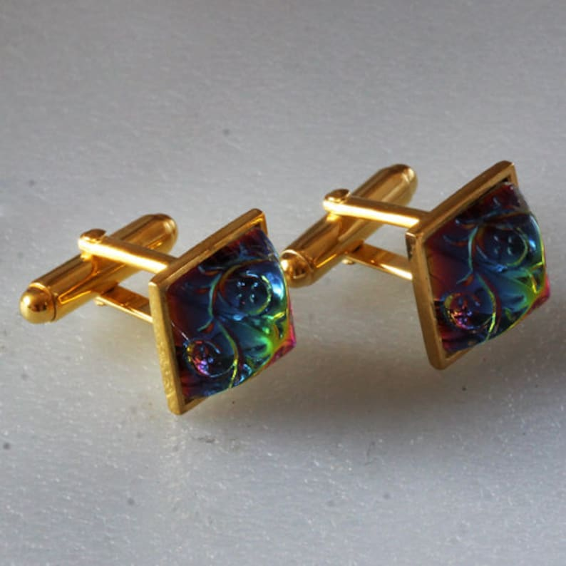 Sterling silver Gold plated Cuff Links with Preciosa Vitrail Dome Glass Etched