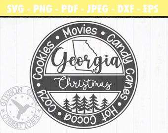 Georgia Christmas Svg | Georgia Svg | Christmas Svg | Georgia Cut File | Christmas Cut File | Georgia Clip Art | GA Svg | GA Dxf | Eps