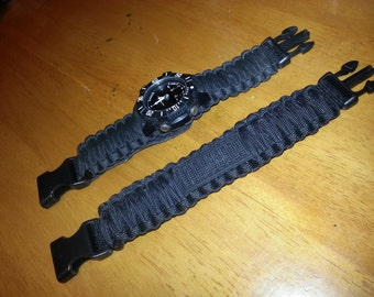 cb0430e3235 SURVCO Adjustable Tactical Replacement Watch Band Survival Emergency  Disaster First Aid Kit Military Molle Zombie 550 Para Cord Bracelet