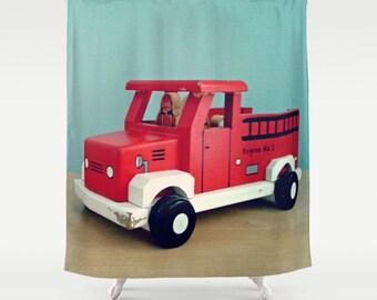 Fire Truck Shower Curtain Home Decor Boys Bathroom Emergency Vehicles Red Aqua Blue Toy