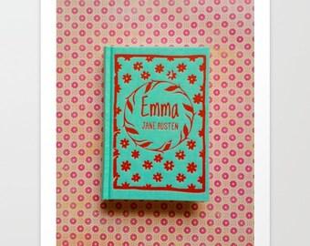 Emma Fine Art Photograph: book, wall art, wall decor, aqua, red, turquoise, Jane Austen