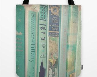 Aqua Mint Books Tote Bag - Fine Art Photography, librarian, book bag, library bag, diaper bag