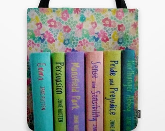 Jane Austen Library Tote Bag: books, book bag, librarian, teacher, pastel