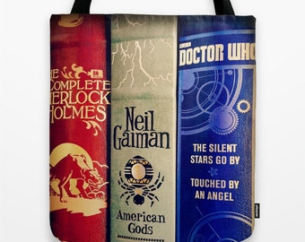 Library of Sherlock, Neil Gaiman and Doctor Who tote bag: library bag, book bag, science fiction, fantasy, mystery, detective, books