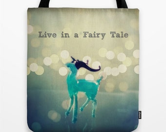 Live in a Fairy Tale Bag: Tote bag, book bag, library bag, beach bag, blue, fantasy, fairy tales, deer, animal, glass figurine, quote
