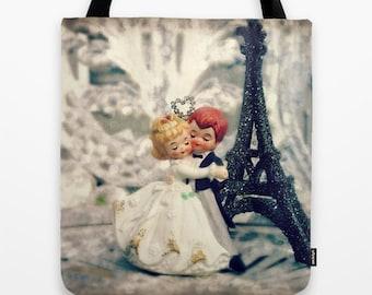 Wedding Dance Tote Bag - Vintage Bride and Groom Cake Topper, Paris, bridal bag, wedding bag, Fairy Tale, Cinderella at the Ball