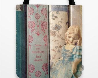 Sense and Sensibility Library Tote Bag - Jane Austen, book bag, library bag, librarian, bridal bag, books, Colonel Brandon, blue, teacher