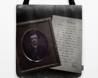 Edgar Allan Poe Bag: Gothic, library bag, book bag, tote bag, librarian, teacher, Victorian, poetry, photography, black and white, literary