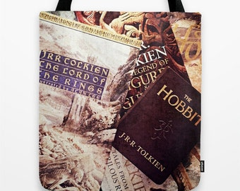 Tolkien Books Tote Bag: Lord of the Rings, Hobbit, fantasy, library, books, elves, wizard, magic, dwarves, adventure