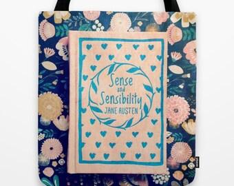 Sense and Sensibility Pink Book Bag: Jane Austen, black, pink, tote bag, library bag, librarian, teacher