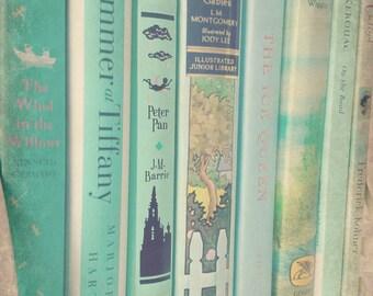 Aqua Mint Books - Photograph, Wall Art, Decor, Nursery, Library, Girl's Room