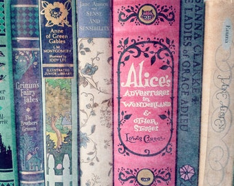 A Perfect Library - Photogragh, Wall Art, Decor, Books, Nursery, Library, Girl's Room, mint, pink, aqua, Jane Austen, Alice in Wonderland