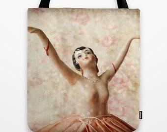 Dance with Sparkles Tote Bag: ballet bag, dance bag, book bag, flapper, pink vintage doll, pink